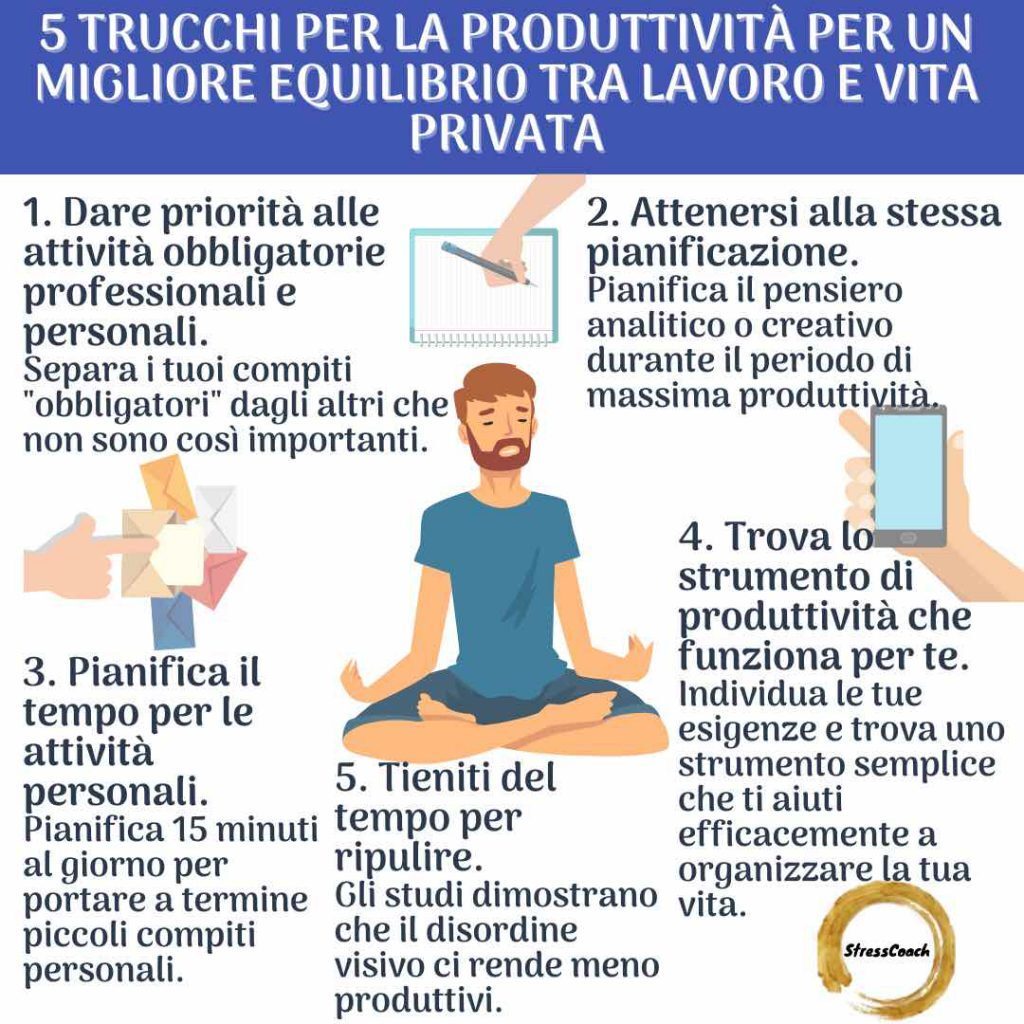 5 trucchi per la produttività per un migliore equilibrio tra lavoro e vita privata